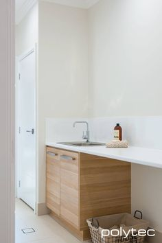 Doors in Natural Oak Ravine. Laminate benchtop in Classic White Matt. Best Picture For DIY Laundry station For Your Taste You are looking for something, and it is going to tell you exactly what you ar Room Interior, Interior Design Living Room, Laminate Benchtop, Bathroom Renovations Perth, House Renovations, Farmhouse Bathroom Accessories, Bathroom Images, Bathroom Ideas, Bathroom Fixtures