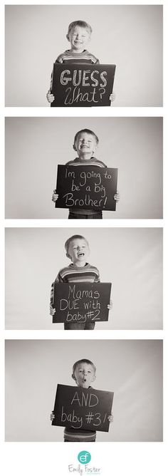 Over three years ago, photographer Emily Foster got the chance to a capture a priceless message for two of her friends. After several cycles of IVF, the couple was excitedly pregnant with boy/girl twins—and their son Oskar was thrilled to make the big announcement for them. The classic black-and-white photo-strip design draws out the suspense and makes the news of two babies-to-be even more impactful.