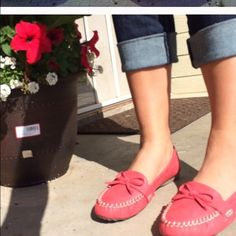 Coral loafers so cute! Basically new Charming Charlie Shoes Flats & Loafers