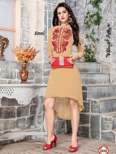 cbc789407e Buy Beige Georgette Embroidered Partywear Kurti at Rs. latest Embroidered  Kurtis for womens at Ethnic Factory.