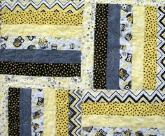 Owl Baby Toddler Lap Quilt Yellow Gray Black by atthebrightspot, $198.00