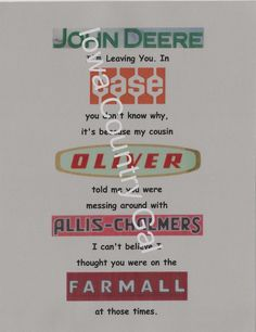 """NEW HUMOROUS TRACTOR LOGO LAMINATED SIGN  / WALL HANGING  SIZE 8.5"""" X 11"""""""