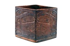 BENT CORNER BOX Haida or Tlingit Northern Northwest Coast ca. 1750 yellow and red cedar| Donald Ellis Gallery