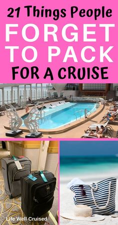 21 Things People Forget to Pack for a Cruise Are you getting ready for a cruise and thinking about what to pack? This list will help you to make sure you don't forget to pack some of the essentials you may just forget about. Packing List For Cruise, Cruise Travel, Cruise Vacation, Family Cruise, Packing Lists, Disney Cruise, Vacation Spots, Cruise Ship Reviews, Best Cruise Ships
