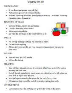 FACS Classroom Ideas: Sewing Rules, Supplies & Starter Bags