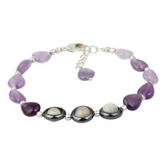Pearlz Ocean Splendid Amethyst and Hematite 8 Inches Gemstone Trendy Bracelet Jewelry for Women