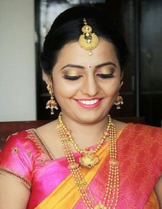Traditional Pink Beauty with her Big Eyes on her Wedding. Parthasarathi Dhanapal · Best Bridal Makeup Artist Chennai