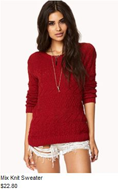 Chunky knit red sweater