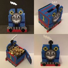 Thomas the Train piggy bank/ box  perler beads by  thepixelizedprincess