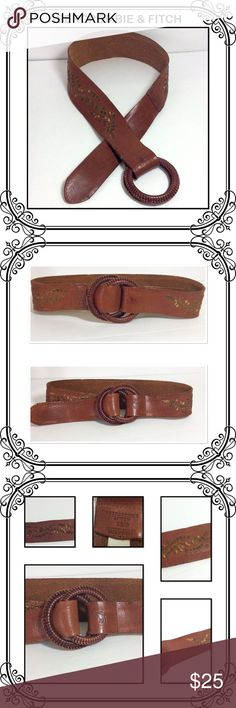 """Abercrombie & Fitch Leather Belt Genuine leather with dark gold embroided pattern// 37"""" long // sold as is. Abercrombie & Fitch Accessories"""