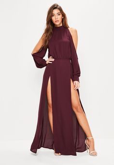Missguided - Burgundy Split Front and Sleeve Maxi Dress