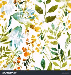 imprints herbs, flowers and leaves. abstract watercolor and digital image. hand drawn boho