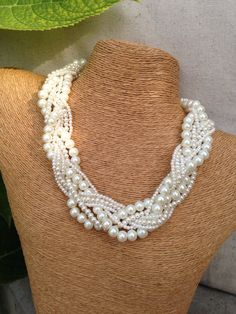 Chunky pearl necklace braided pearl necklace by EmmieMaeBridal