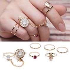 New 6pc/Set Women Crystal Leaf Knuckle Midi Mid Finger Tip Stacking Chain Rings  #Feixingjewelry #Knucklering