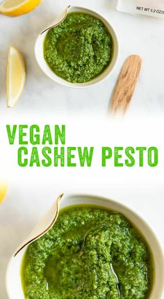 Want pesto but you eat plant based? This vegan cashew pesto has all the goodness of a classic basil pesto...without the cheese. #pesto #vegan #veganpesto #plantbased #basil #basilpesto...
