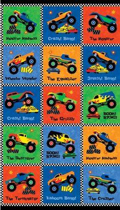 Monster Truck Madness 20220-45 by Northcott Fabrics