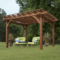 Relax in shade under this stunning cedar pergola. The sturdy construction will charm your yard for seasons to come.