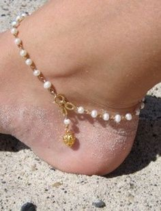 Gold Heart White Pearl Anklet