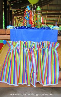Ruffled Table Runner from Plastic Tablecloths Tutorial - Uncommon Designs...