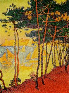 "Paul Signac ""Sails and Pines"", 1896 ~ Post-Impressionism / Pointillism Georges Seurat, Paul Signac, Oil On Canvas, Canvas Art, Art Moderne, Fine Art, Claude Monet, Famous Artists, Art Reproductions"