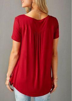 Red Short Sleeve Split Neck Curved Blouse | Rosewe.com - USD $28.66