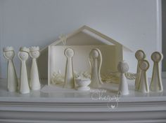 White quilled nativity