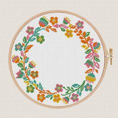 flowers wreath cross stitch pattern floral wreath cross stitch
