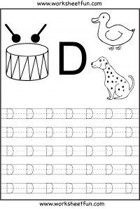 Kindergarten Letter D Writing Practice Worksheet Printable | D is ...