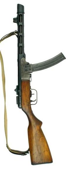 Late production Shpagin PPSh-41 submachine gun, with box magazine and flip-up rear sight.: