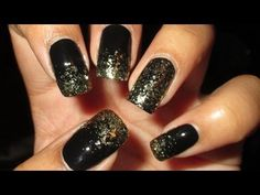Sparkly Gold & Black French Tip Nail Art Tutorial - YouTube