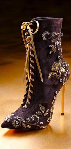 Casadei purple lace-up boots with gold heels, beading, and embroidery