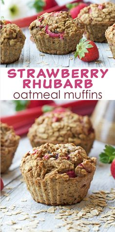 Strawberry Rhubarb Oatmeal Muffins - made with an extra protein boost, these muffins are such an easy grab-and-go breakfast to meal prep.