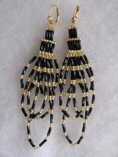 Seed Bead Earrings - Black Bugle Dangles $14.00USD