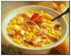 Our Sante Fe Chicken & Corn Chowder has the added tastiness of BACON to keep you warm on the coldest of winter days! Santa Fe Chicken, Chicken Corn Chowder, Dinners, Meals, I Want To Eat, Easy Food To Make, Cheeseburger Chowder, Lunches, Soups