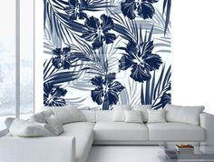 Tropical bezešvé monochromatické modrá indigo maskování pozadí fototapeta • fototapety aloha, indigo, ibišek | myloview.cz
