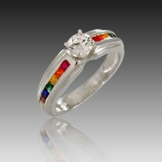 Ss 5mm Channel Set Double Rainbow Ring W Center Stone Pride Jewelry