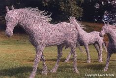 3 horses, lifesize, made from recycled fencing wire.