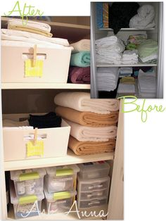 Get Organized in How to Organize Your Spice Cabinet and Linen Closet Tips! Cleaning out your spice cabinet. Organizing your linen closet. Organisation Hacks, Linen Closet Organization, Bathroom Organization, Storage Organization, Bathroom Cleaning, Towel Storage, Closet Storage, Storage Bins, Bathroom Storage