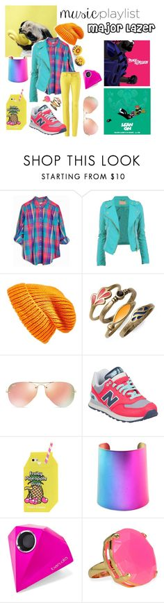 """""""Major Lazer"""" by say13579 ❤ liked on Polyvore featuring Topshop, Lucky Brand, Ray-Ban, New Balance, BaubleBar, women's clothing, women, female, woman and misses"""