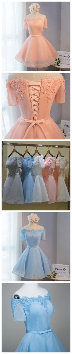 A-LINE HOMECOMING DRESS ORGANZA OFF-THE-SHOULDER JUNIORS HOMECOMING DRESSES