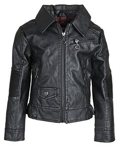 4fe12ced76c3 Urban Republic Little Girls Faux Leather Biker Trucker Motorcycle Jacket -  Black (Size 5
