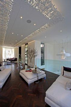 Deckengestaltung Wohnzimmer Paneele Weiss Zarte Muster Spitze