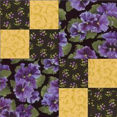pink and purple pansy fabric | ... Lovely Purple Yellow Black Floral Pansy Fabric Quilt Block Kit Cut