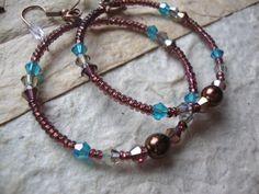 Beaded Hoop Earrings Brown and Blue Crystal by KidsAtHeartBeadShop