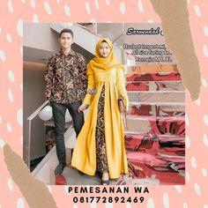 Setelan Dress Batik Couple Sarimbit Kombinasi Broklat Sarwendah Dress Kemeja Lengan Panjang Batik Couple, Duster Coat, Couples, Model, Jackets, Fashion, Down Jackets, Moda