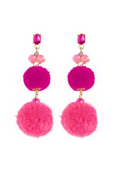 A mid weight pair of earrings featuring different color pom pom with a touch of sparkle. Color: Black, Burgundy, Purple, Rose, Olive,Turquoise Material: Base Metal, Color Glass, Faux Fur Measurement: