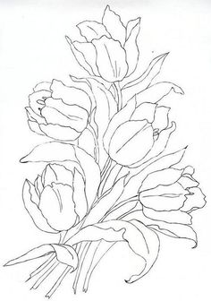 Tulips coloring page: Embroidery Designs, Hand Embroidery, Flower Coloring Pages, Coloring Book Pages, Painting Patterns, Fabric Painting, Colorful Flowers, Watercolor Flowers, Flower Art