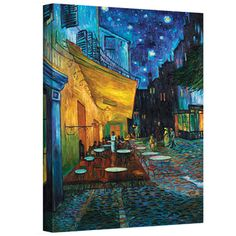 @Overstock - Artist: Vincent VanGogh  Title: Cafe Terrace at Night  Product type: Wrapped Canvashttp://www.overstock.com/Home-Garden/VanGogh-Cafe-Terrace-at-Night-Wrapped-Canvas/7295889/product.html?CID=214117 $49.49
