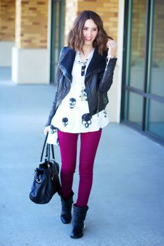 Skulls Top | Leather Jacket | Colored Jeans