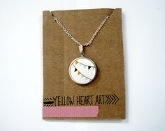 """Fabric Pendant Necklace """"Bunting Flag Party"""" - LOVE! #jewelry"""
